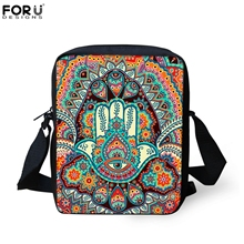 FORUDESIGNS Retro Messenger Bag For Woman Hamsa Fatima Hand/Mandala Floral Casual Crossbody Bags Boys Girls Travel Shoulder Tote