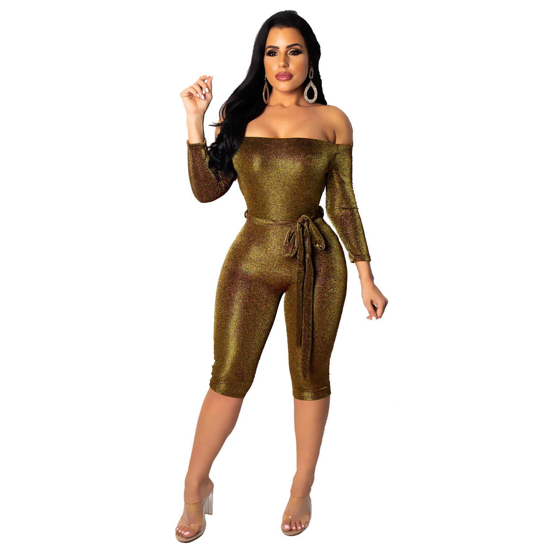 Nuevo Mono de seda de oro y plata con cuello de palabra Sexy de Venta caliente de 2019 para mujer
