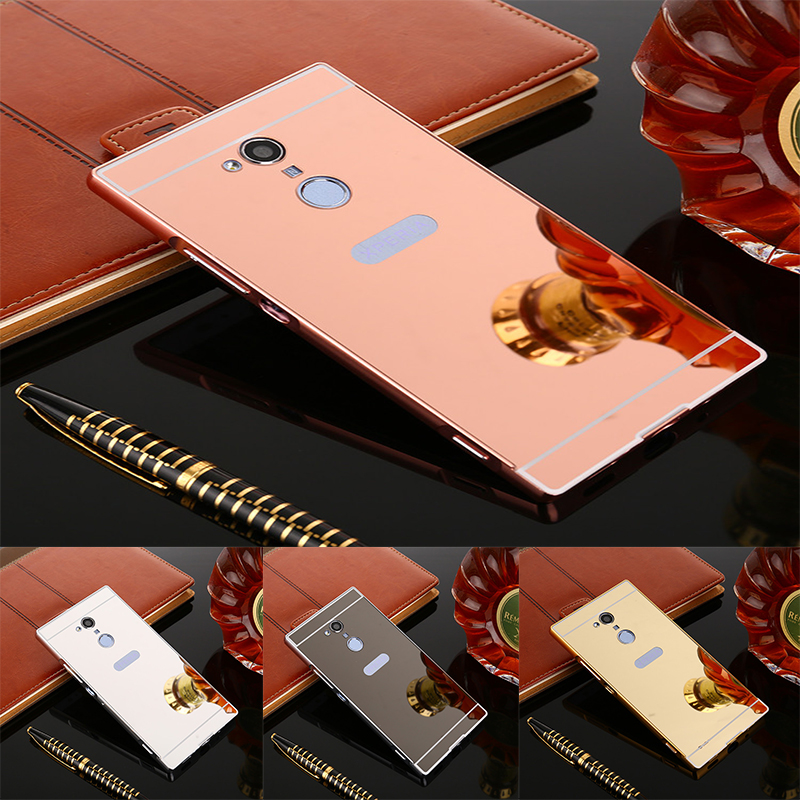 Luxury Gold Plating Aluminum Metal Mirror Case For Sony Xperia XA2 / XA2 Ultra Phone Case Back For Sony XA2 XA2 Ultra Case