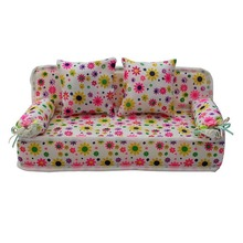 High Quality Lovely Doll Miniature Flower Prints Sofa Couch With 2 Cushions For Barbie Doll Hot Selling Gift Toys for Children