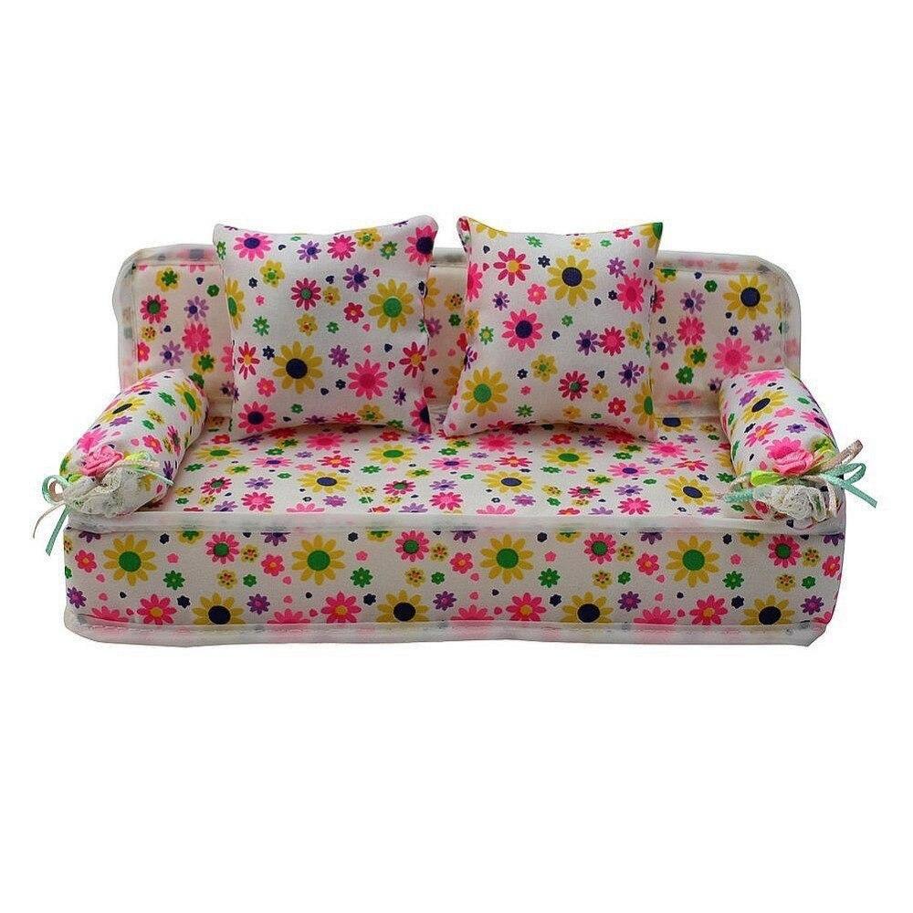 Высокое качество прекрасный миниатюрный цветочные принты диван с 2 подушки для куклы горячая распродажа подарок детям