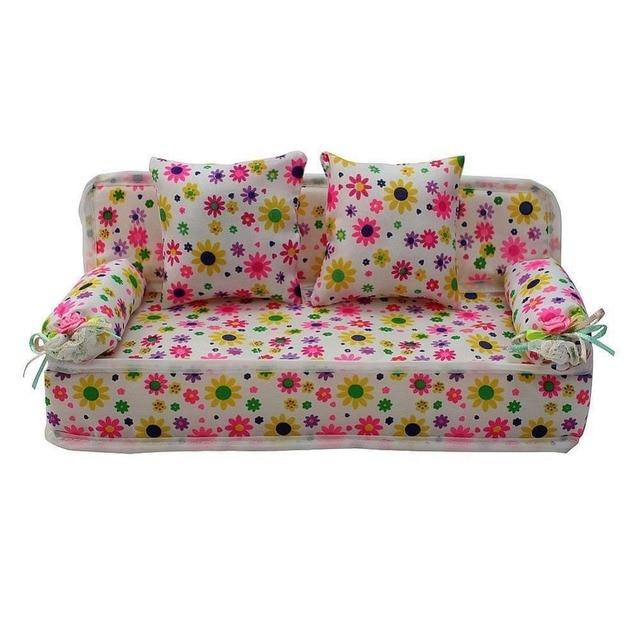 LeaadingStar High Quality Lovely Doll Miniature Flower Prints Sofa