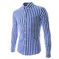Классический полосатой рубашке мужчин 2016 мода рубашки яркий цвет тонкий свободного покроя блузка с отложным воротником с длинным рукавом ну вечеринку рубашка