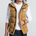 Winter cotton vest male 2016 new men Slim casual hooded vest Fashionable men's large size coat M-5XL winter jacket men