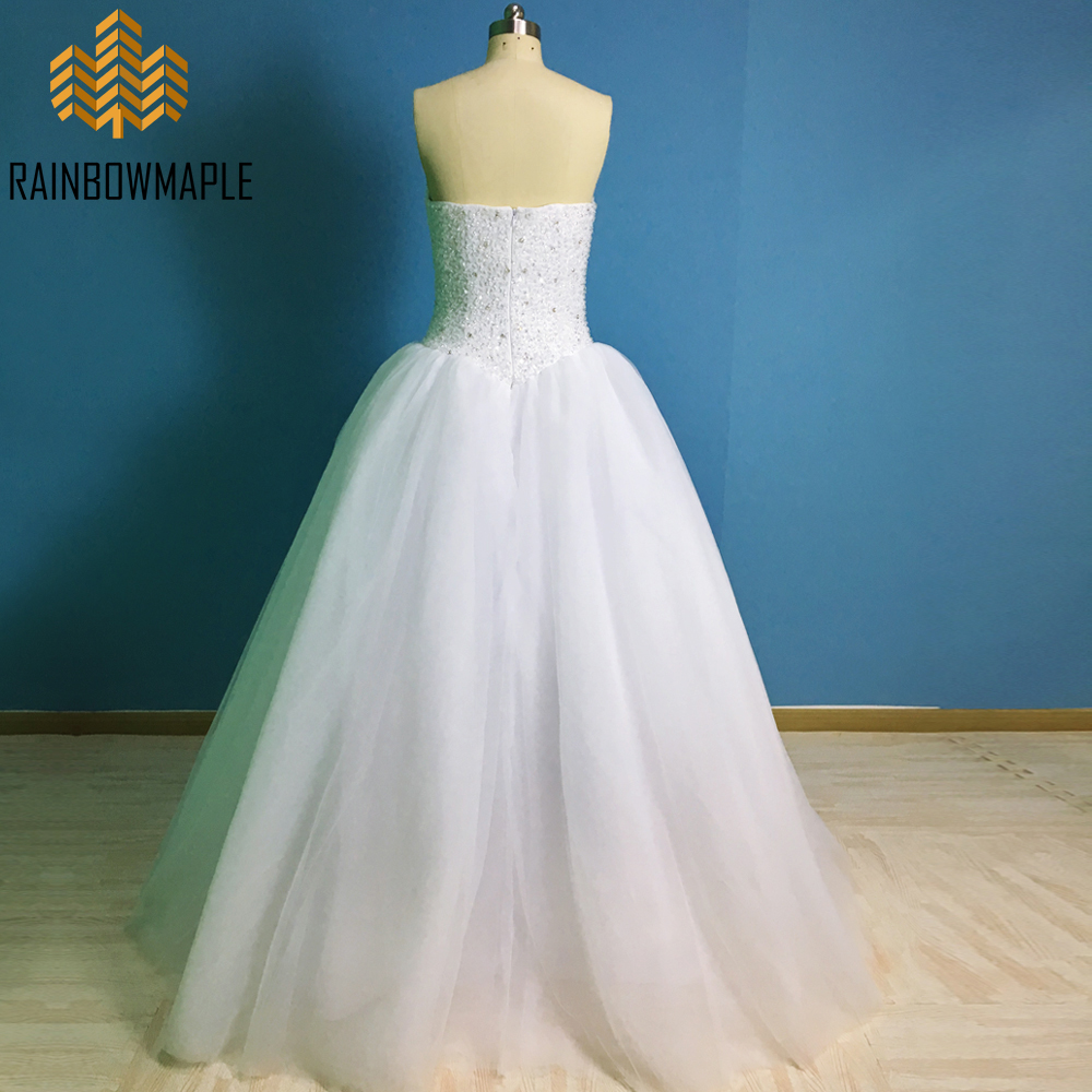 Lovely Sweetheart White Ball Gown Wedding Dresses Luxury Rhinestone ...