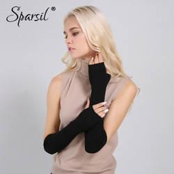 Sparsil Для женщин зимние митенки кашемировые длинные перчатки без пальцев однотонные теплые варежки локоть нить трикотажные рукава 50 см