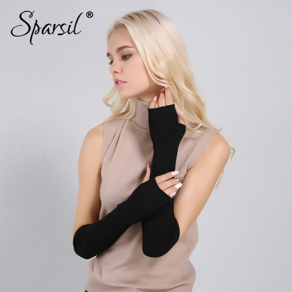 Women's Accessories Enthusiastic Sparsil Women Winter Arm Warmers Cashmere Fingerless Long Gloves Solid Warm Mittens Elbow Thread Knitted Sleeves 50cm Glove Utmost In Convenience