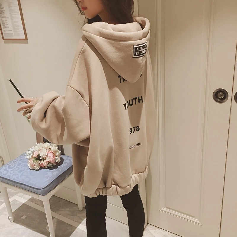 Winter New Korean Hip Hop Loose Oversized Hoodies Women Casual Hooded Sweatshirt Bubble Sleeve Zipper Coat Tops Kpop Streetwear