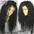8А бразильского виргинские полный шнурок человеческих волос парики с Волосами Младенца кудрявые волны кружева перед Парики для Чернокожих женщин отбеленные узлы В на складе