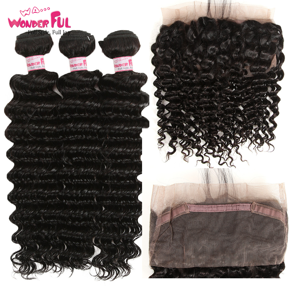 Pre Plucked Indian Deep Wave 360 Frontal With Bundle Curly Human Hair Weave 360 Lace Frontal Closure With Bundles 3/4PCS