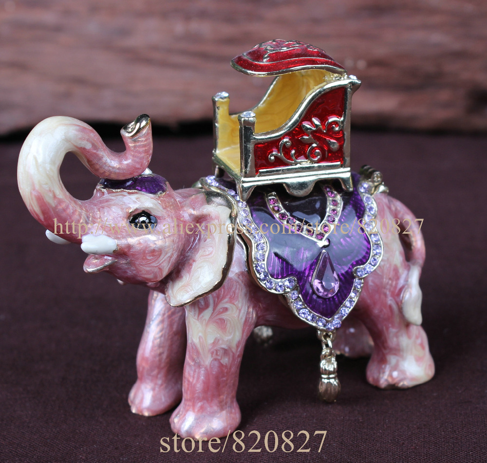 Parade Elephant Bejeweled Handcrafted Pewter Trinket Box Hand Enameled with Crystals Elephant Jeweled Trinket Box