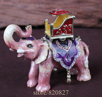 Parade Fil Bejeweled Kristalleri ile El Işi Kalay Biblo Kutu El Emaye Fil Mücevherli Biblo Kutusu