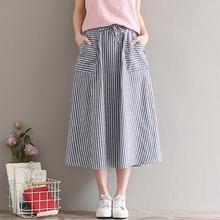 2fd65d8197 Midi Saia estilo de Japón Mori chica Vintage falda bolsillos mujeres  elástico cintura azul