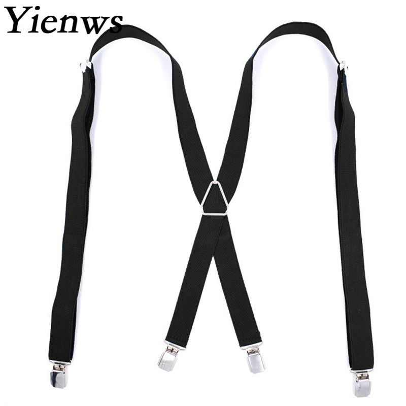 Yienws Suspensorio Large Suspenders for Men X Back 4 Clip Mens Braces Suspenders for Tall Bretelles Pour Homme 2.5*120cm YiA092