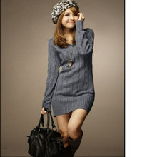 New Long Sweaters Spring Winter Women Fashion Pullovers Jumper Fall 3 Solid  Colors V-Neck Basic Knitted Sweater Dress JH658742 b5aa9516bf6a