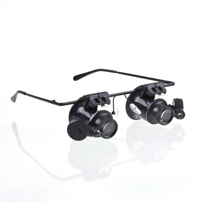 Wholesale 20x binocular glasses mirror with LED lights jewelry watches  electronic equipment repair 9892A II. 20x Mirror Lighted