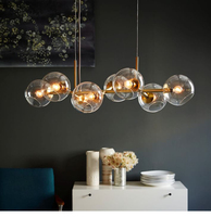 8 Head Nordic New Lindsey Glass Villa Pendant Light Black / Gold Bar Stair Dining Room Lindsey Light Fixtures Free Shipping