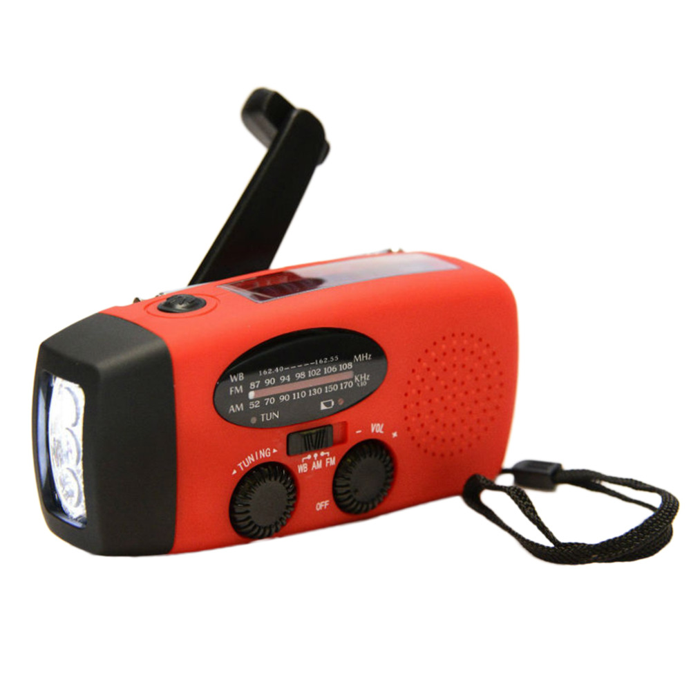 New Protable Solar Radio Hand Crank Self Powered Phone Charger 3 LED Flashlight AM/FM/WB Radio Waterproof Emergency Survival Red new portable solar radio fm hand crank self powered phone charger 3 led flashlight am fm wb radio waterproof emergency survival