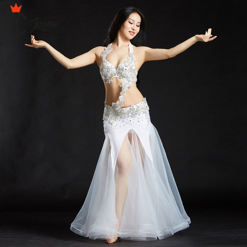 for oriental dance Professional Dance Wear Belly Dance Clothes 2 pcs 3pcs Beaded Bra Belt Skirt Set Women Costumes in Belly Dancing from Novelty Special Use