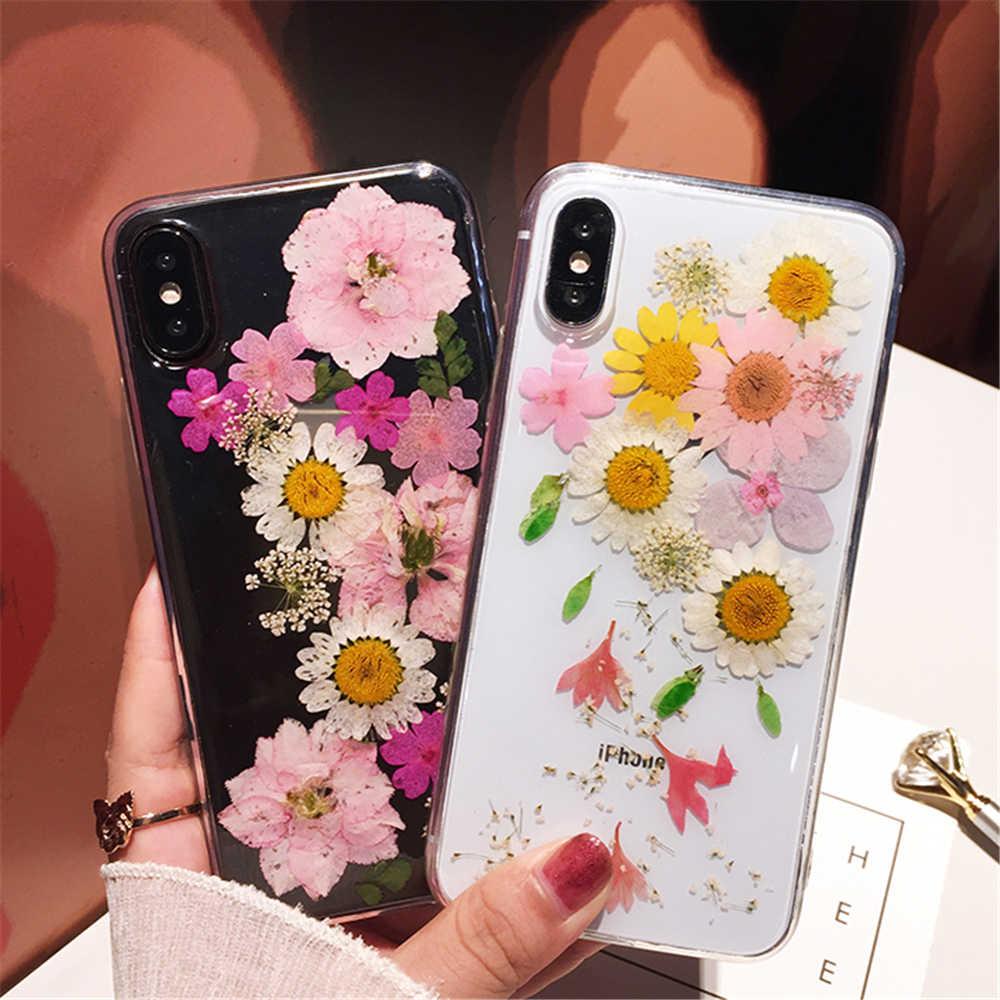 Qianliyao Reale Fiore Secco Del Telefono Custodie per il iphone 7 Custodia Morbida per il iphone X XS XR XS Max 6 6s 7 8 più di 11 Pro Max Fatti A Mano di copertura