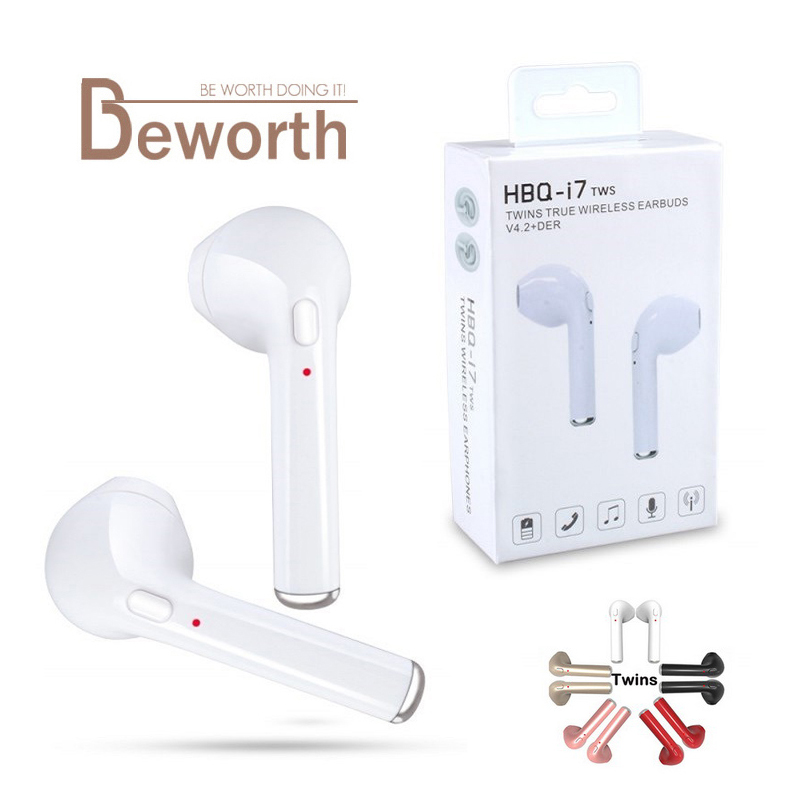 HBQ i7 TWS Earphone Twins True Wireless Earbuds Mini Bluetooth V4.2 DER Stereo With Mic Headset Sports Headphone For iPhone 8 S8 remax 2 in1 mini bluetooth 4 0 headphones usb car charger dock wireless car headset bluetooth earphone for iphone 7 6s android