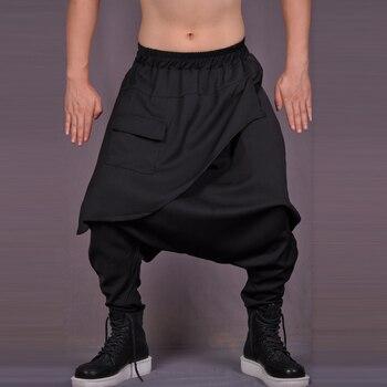 Big Crotch Pants Men Casual Trousers Asymmetrical Culottes Novelty Loose Harem Pants Black Singer Costumes Hot 2020 New
