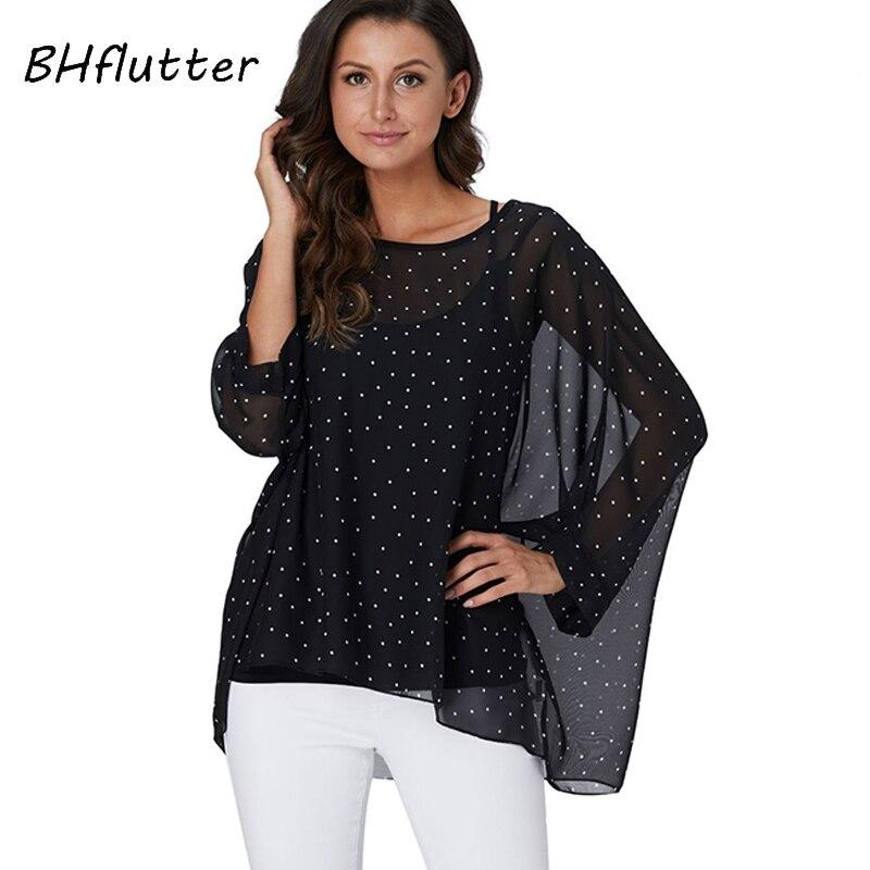 BHflutter Black   Shirts   Women Fashion Batwing Sleeve Casual Summer   Blouse     Shirt   White Dot Print Vintage Chiffon   Blouses   For Women