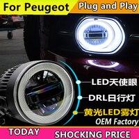 doxa Car Styling for Peugeot 206 207 301 307 308 408 508 LED Fog Light Auto Angel Eye Fog Lamp LED DRL 3 function model