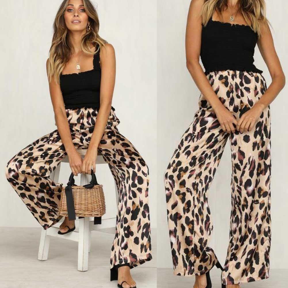 9115e553ecc9e Detail Feedback Questions about New Ladies Women Pants Animal Leopard Print  Wide Leg Trousers Fashion Loose High Waist Women Capris on Aliexpress.com  ...