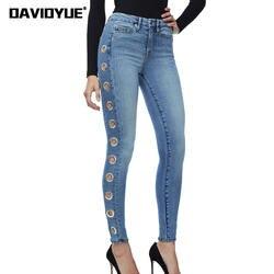 2018 г. пикантные люверсы джинсы с высокой талией женщин улица Boyfriend узкие джинсовые узкие брюки весна панк бегунов длинные Мотобрюки