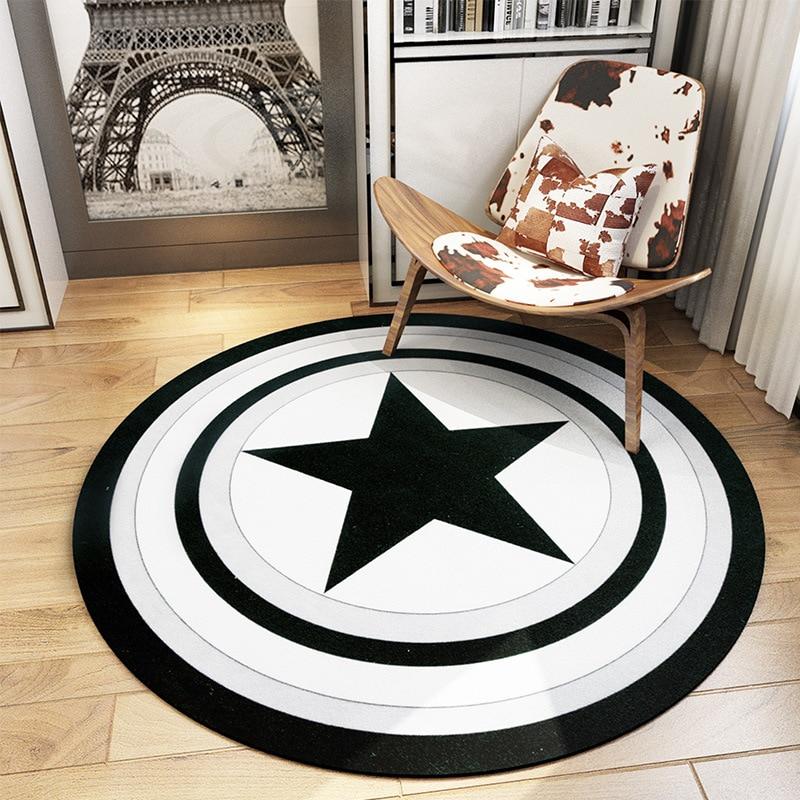 Mondern black white captain america shield design round carpet sofa table rugs living room for Black and white bedroom carpet