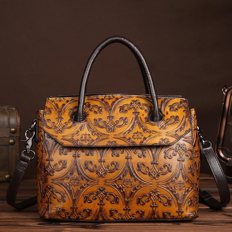 все цены на 2018 Genuine Leather Women Bags High Quality Natural Leather Embossed Ladies Shoulder Bag Viatage Female Luxury Handbag Designer онлайн