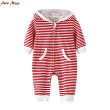 New Casual Red Striped Hooded Romper 100%Cotton Onesie Baby One-piece Clothes