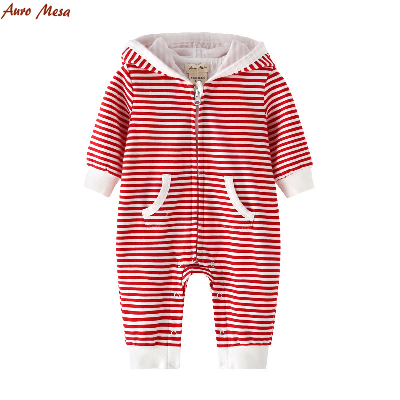 5e903ae32e6ad New Casual Red Striped Hooded Romper 100%Cotton Onesie Baby One ...