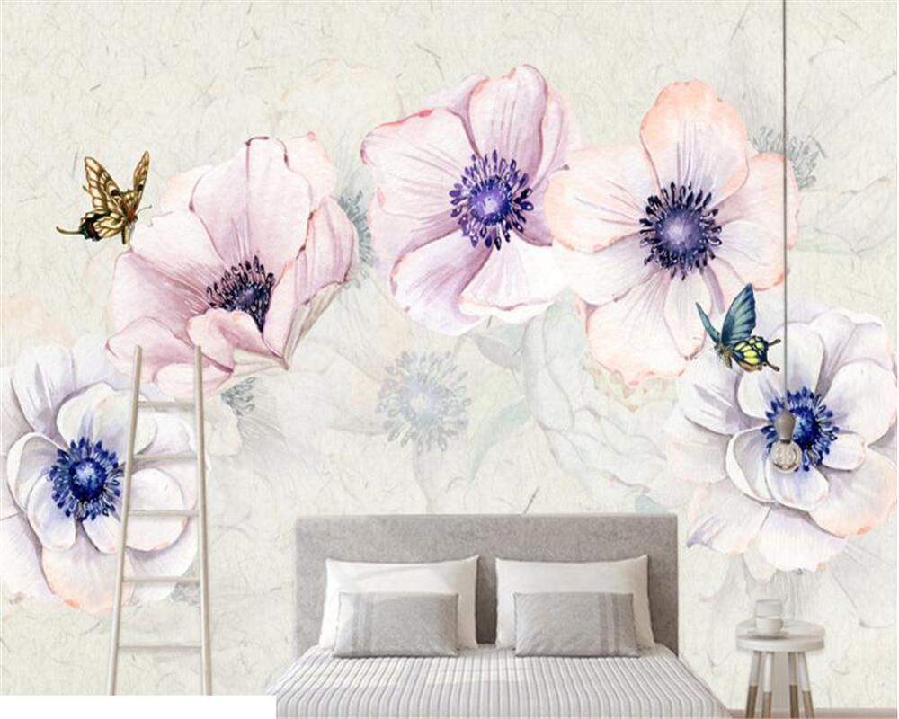 beibehang High Quality Personality Classic 3d Wallpaper Fashion Style Simple Hand Painted Flower Butterfly Background Behavior