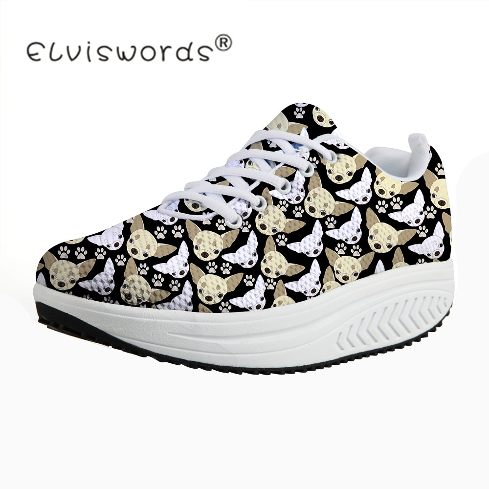 ELVISWORDS Cute Chihuahua Dog Prints Platform Shoes for Women Fashion Ladies Casual Height Increasing Swing Shoes Zapatos Mujer
