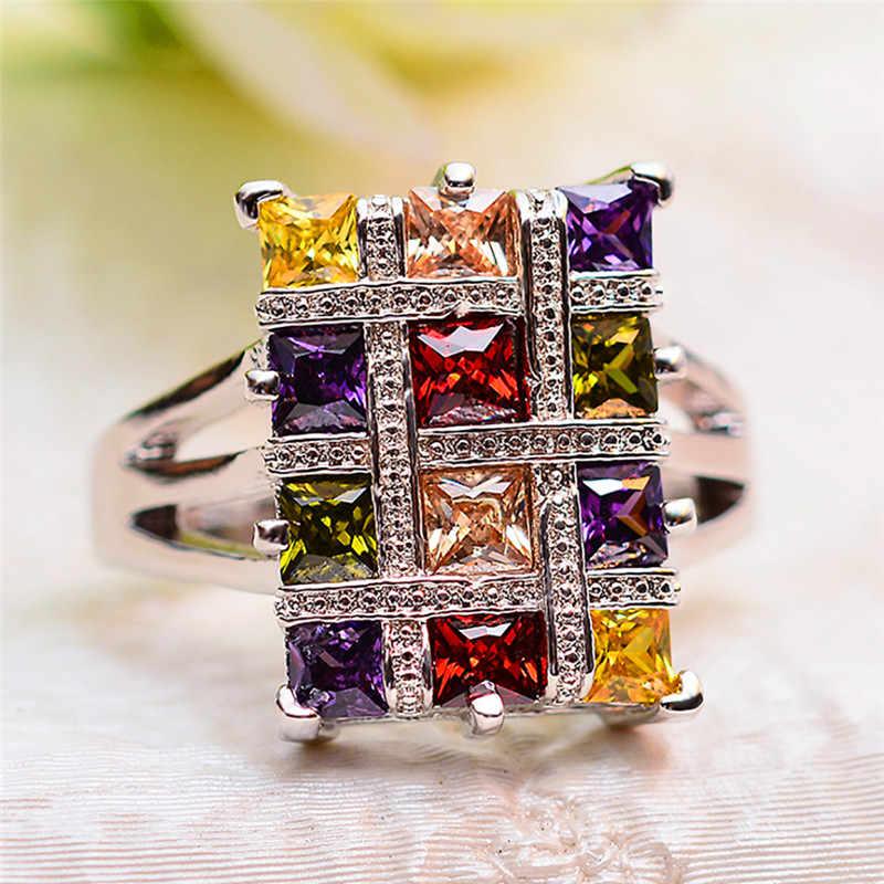 หญิงหรูหรา Big Rainbow แหวนหินน่ารัก Vintage Wedding Party แหวนเครื่องประดับแหวนหมั้นสำหรับสุภาพสตรี