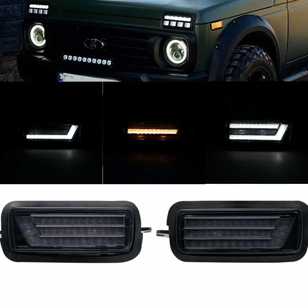 For Lada Niva 4X4 1995 LED DRL Lights With Running Turn Signal PMMA