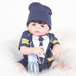 22inch 55cm Lovely Realistic Soft Vinyl Reborn Doll Real Looking Newborn Baby Boy Doll in Uniform Clothes Kids Birthday Gifts