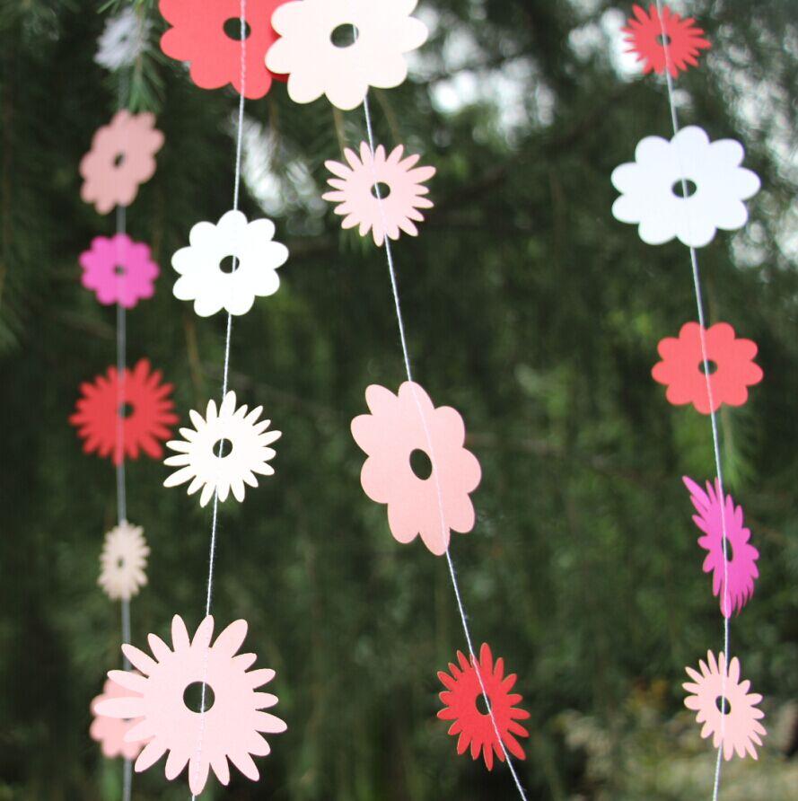 12 pieds printemps guirlande rose papier guirlande de fleurs printemps d cor fille d. Black Bedroom Furniture Sets. Home Design Ideas