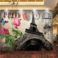 Free Shipping 3D Stereo Brick Wall Paris Tower Auto European Oil Painting Background Mural Restaurant Shopping