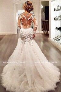 Image 3 - Meerjungfrau Hochzeit Kleider 2019 Robe de Mariee Braut Kleid Scoop Neck Spitze Appliqued Brautkleid Lange Ärmel Braut