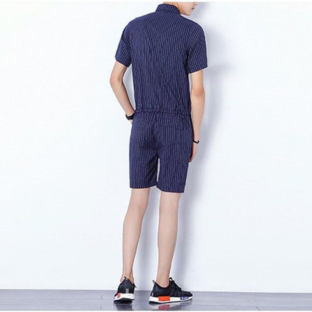 e6dfdd917b85 Big Yard 4XL Men Short Pants Jumpsuit 2018 Autumn New Men s Cotton Male One  Piece Overalls Romper Slim Stripe Trouser Black Blue-in Overalls from Men s  ...