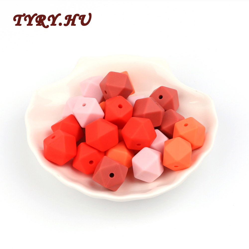 TYRY.HU 20pcs 14mm Silicone Beads Baby Teething Teether Bead Food Grade Nursing Silicone Baby Toy Pacifier Chain DIY Accessory