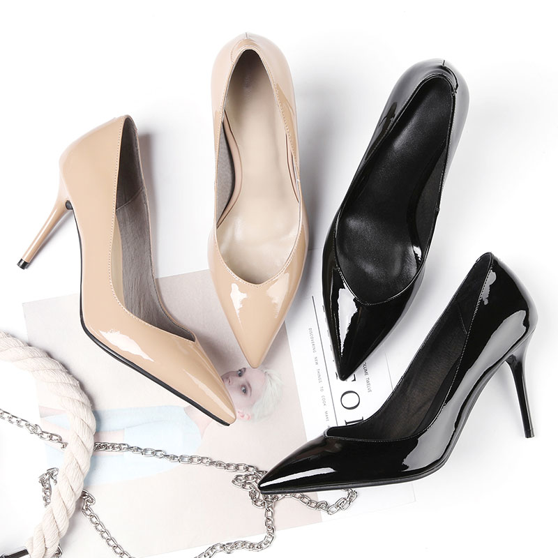 Las Genuino Calidad Cm Alta De 9 Plus Trabajo Los Zapatos Bombas Muyisexi Negro Albaricoque Tacones Altos Mujeres Apricot Tamaño Oficina black Cuero Rns04 w0CqC56f
