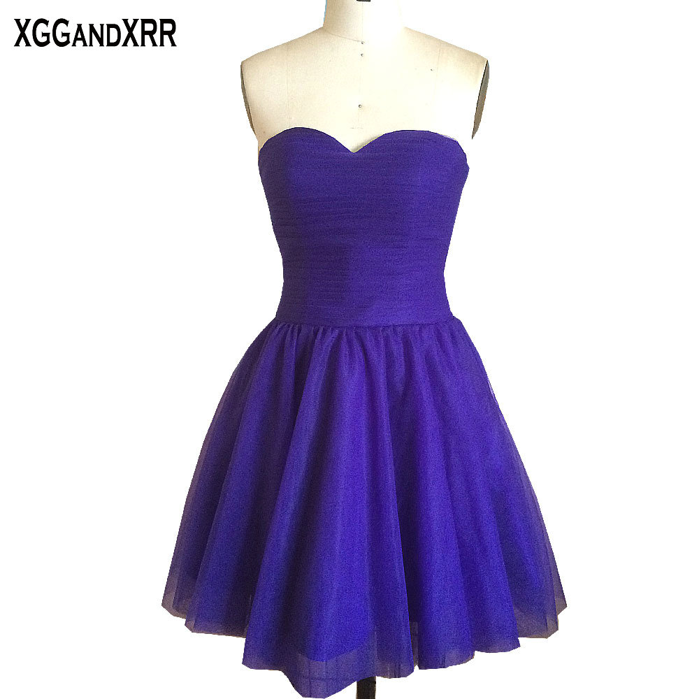 Hot Sale Purple Chiffon A-Line Bridesmaid Dresses 2018 Sweetheart Lace Up Back Bow Short Dresses For Wedding Party