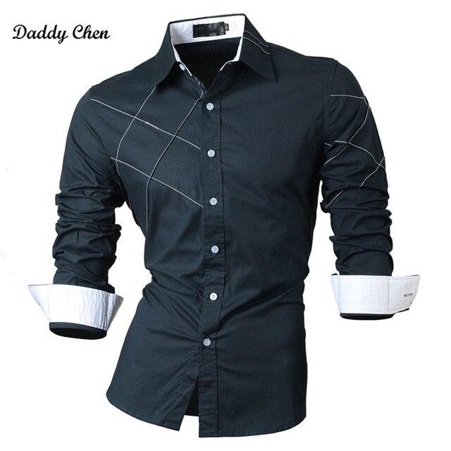 a7539b728ca1 2018 Marca de Moda Casual camisa Listrada dos homens slim fit camisa de  vestido do Negócio