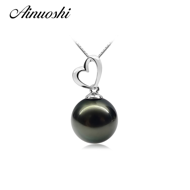AINUOSHI Natural Tahitian Black 10-10.5mm Pearl Pendant Necklace Heart Love Pendant Chain Necklace 925 Sterling Silver Jewelry