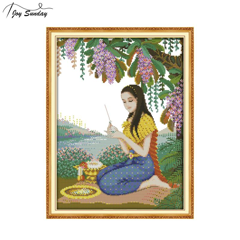 Joy Sunday Thai Style Cross Stitch Pattern DMC Counted Printed Aida Fabric 11ct 14ct Canvas for Embroidery DIY Needlework Crafts in Package from Home Garden