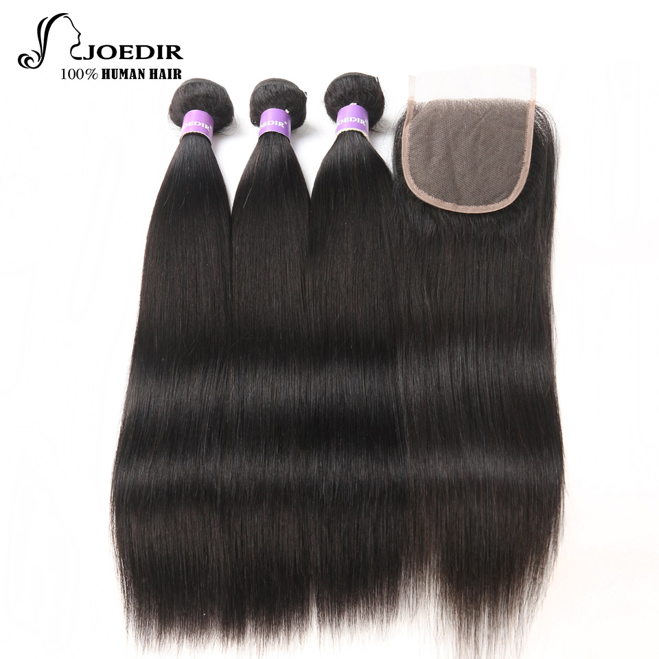 Joedir Straight Hair Bundles With Closure Brazilian Straight Hair 100% Human Hair Weave 3 Bundles With Closure Free Shipping